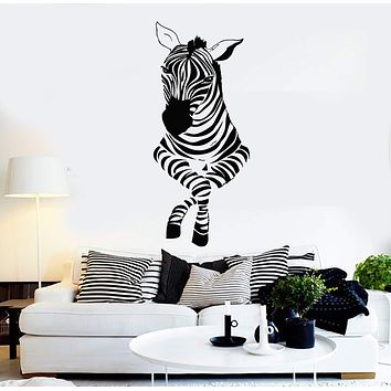 Vinyl Wall Decal Funny Zebra Zoo Kids Room Nursery Decor Art Stickers Mural Unique Gift (ig5154)