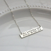 She Believed She Could Necklace, Silver Rectangle Necklace, Silver Bar Necklace Gold Bar Necklace Inspirational Necklace Graduation Gift