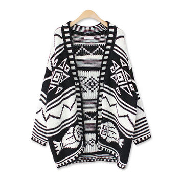Winter Vintage Geometric Pattern Sweater Ladies Knit Jacket [8216432257]