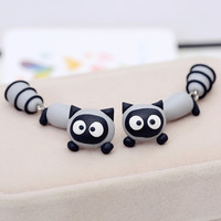 1Pair Polymer Clay fashion Cute gray Cat racoon animal drop Earrings Ear Stud jewelry brincos Free Ship
