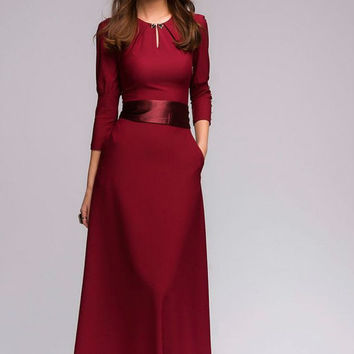 Wine Maxi Dress Formal, elegant Dress with Belt.