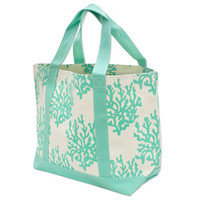 Monogrammed Coral Canvas Tote Bag - Mint