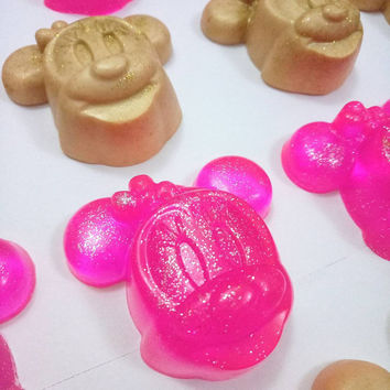 25 MINNIE MOUSE SOAPS - Baby shower gifts for guests, Guest soap, Baby shower soaps, Minnie mouse soap, Gift soaps, Glitter soaps