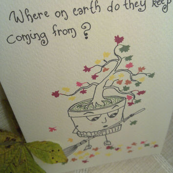 Funny and Cute Card, Flowerpots' Life Series (Planters with Character), planter having troubles with a bonsai tree, set of 4