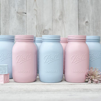 10 Painted Quart mason jars. Bulk mason jars. Wedding mason jars.