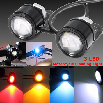 2PCS 12V Motorcycle LED Mirror Rear View Warming Flash Decorative Strobe Light Lamp