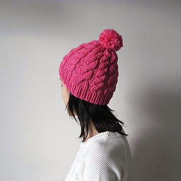 Hand Knitted Cable Chunky Beanie in Fuchsia, Womens Pom Pom Hat, Beanie with Pom Pom, Seamless, Wool Blend, Winter Fall