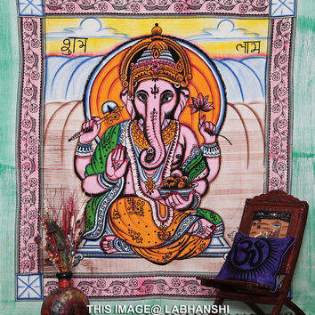 Twin Indian Lord Ganesh Bedcover, Indian Tapestry, Indian Wall Hanging, Hippy Hippie Tapestry, Ganesha Bedcover, Ganesh Wall Hanging. India