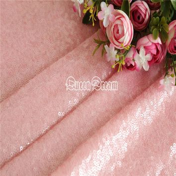 4 Yards High Quality Sparkly Embrodiery Mesh 3mm Sequin Fabric Pink Sequin Fabric for Clothes/Events Christmas Decoration