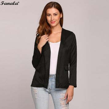 2017 Autumn Blazer Women Casual Blazer feminin Women Blazers and Jackets Coat Long Sleeve Solid Open Front Cardigan Slim Blazer