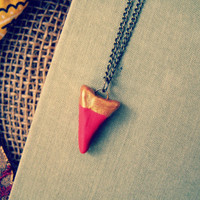 Golden Red Clay Tooth Charm Tribal Stacking Necklace, Modern Boho Long Layered minimal Ethnic casual Necklace, Gypsy Indie Trendy Jewelry