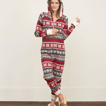 Patterned Full-zip Onesuit