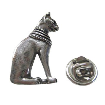 Silver Toned Egyption Cat Lapel Pin