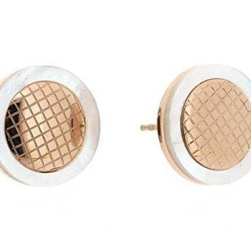 Ben and Jonah Stainless Steel and Rose Gold Plated Stud Earring with Mother of Pearl Border and Inner Honeycomb Design