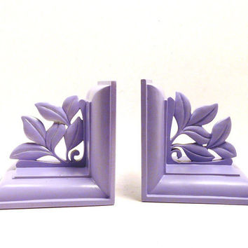bookends, lilac, ornate, romantic, victorian, religious, pslam, home office, bookend, book ends, lavender, pastels, home accents
