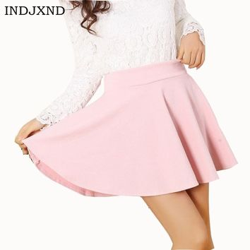 Newly Design Fashion Skirts Sexy Women High Waist Plain Style Skater Flared Cotton Mini Skirt Loose Candy Color Pleated Hot D007
