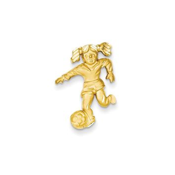 14k Yellow Gold Solid Satin Diamond-cut Open-Backed Girl Soccer Player Charm