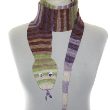 Snake Scarf  /  Hand Knit Scarf  / shades lilac  green brown and white  / animal scarf