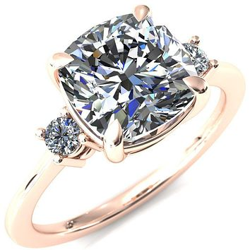 Poppy Cushion Moissanite 4 Claw Prong 2 Rail Basket Round Sidestones Inverted Cathedral Engagement Ring