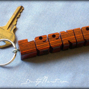 Cocobolo Wood Name Keychain - Carved to Order