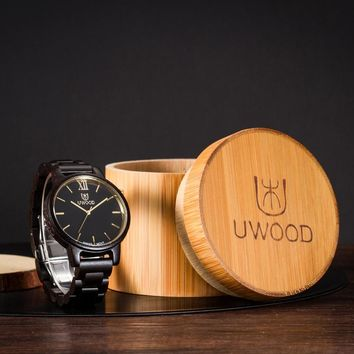 Natural Bamboo Wooden Watch Brand new analog men wood watch slim designer Strap Japanese Quartz Movement Casual Watches