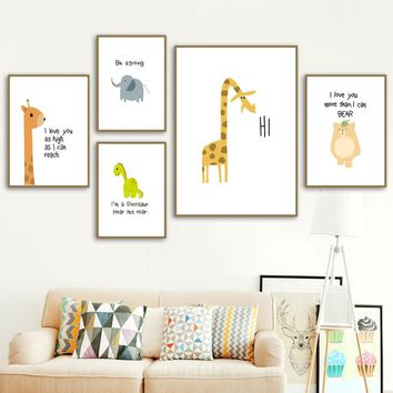 Cartoon Giraffe Dinosaur Elephant Bear Posters And Prints Wall Art Canvas Painting Nordic Wall Pictures Kids Room Boy Wall Decor