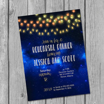 Printable fall rehearsal dinner invitation / string lights rehearsal invitation / fall wedding rehearsal invite / rustic rehearsal invite