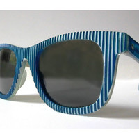 80s Striped Wayfarer Sunglasses, Sculptural 3D Textured Frames, 1980s Blue and White Op Art Patterned Sunglasses