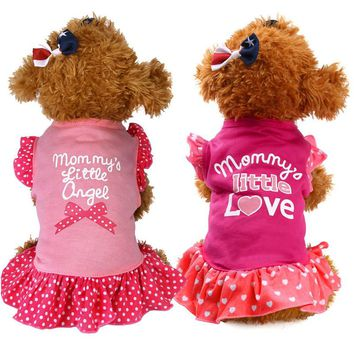 Lovely Pink Summer Pet Puppy Small Dress Apparel Clothes Fly Sleeve Dresses skirt Dog Cat Pet Shirt cloting outfit for poodle