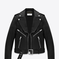 Saint Laurent Geometric Motorcycle Jacket In Black Leather | ysl.com