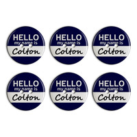 Colton Hello My Name Is Plastic Resin Button Set of 6