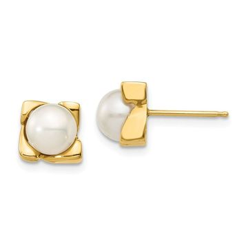 14k Yellow Gold 6-7 mm White Button Pearl Post Earrings
