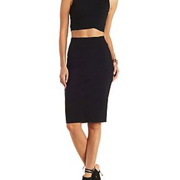 CUT-OUT CROP TOP & SKIRT HOOK-UP