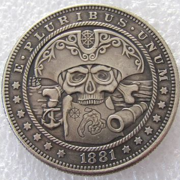 US 1881 Morgan Dollar skull zombie skeleton hand carved Copy Coins High Quality