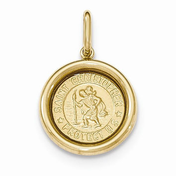 14k Yellow Gold St Christopher Medal Pendant