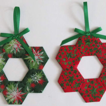 Two (2) Christmas Tree Ornaments, Decorations, English Paper Pieced Hexagons, Green Red
