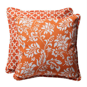 2 Orange Reversible Throw Pillows - Mildew, Weather And Fade Resistant