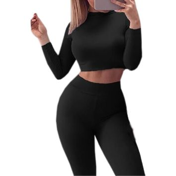 2017 Two Piece Set Autumn Winter Sexy Skinny Pants Crop Top Women Sets Sportsuits Bodycon Outfits Set Tops Sexy Tracksuits GV454