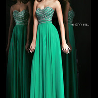 Sherri Hill 8546 Strapless Chiffon Prom Dress