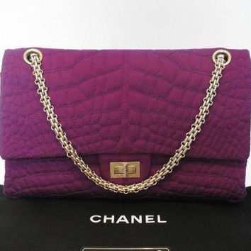 "Chanel Auth ""Coco's Croco"" Violet Satin 2.55 Reissue 226 Flap Bag w GHDW: $10K+"