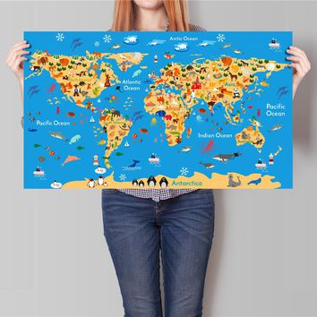 Large Size Vintage Poster Classic Animal Character Retro Posters Wall Stickers Wall Art Painting Wallpaper Cafe Bar World Map