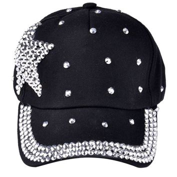 New Fashion Baseball Cap Rhinestone Star Shaped Boy Girls Snapback Hat
