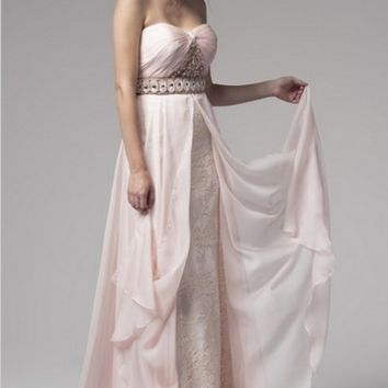 KC131548 Pink Chiffon and Lace Jeweled Evening Dress by Kari Chang Couture