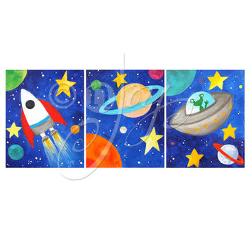 Art for Kids - 3 Space Themed PRINTS - 8x10 - Solar System - Children's Decor