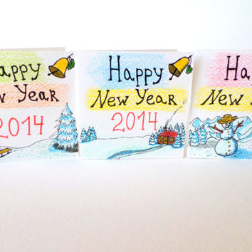Happy New Year cards set of 3, Set of three handmade New Year cards 2014, hand-drawn cards for Happy New Year, greeting cards set