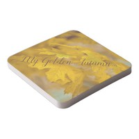 Yellow autumn maple leaves. Add you text or name. Square Paper Coaster
