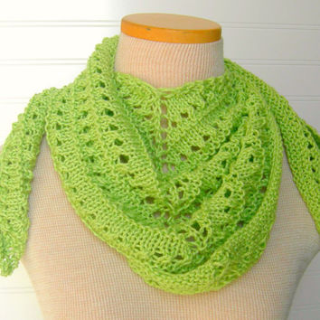 Lace Shawl Scarf n Green Apple Lime by WindyCityKnits on Etsy