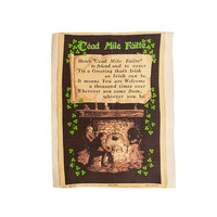 Saint Patrick's Day Irish Linen Tea Towel Oversize Vintage Cead Mile Faitle Shamrocks Frameable Irish Linen Ireland Looms Framable Bar Decor