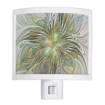 Floral Fantasy, Abstract Fractal Art Night Light
