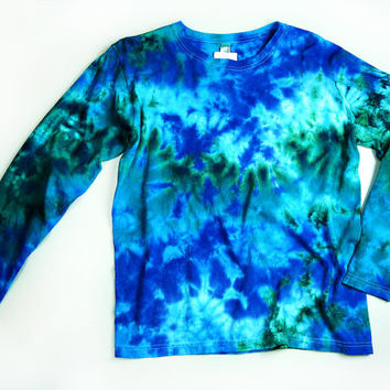 Ladies Long Sleeve Tie Dye Shirt, Womens T Shirt, Marble Ocean Colors Design, Eco-friendly Dyeing